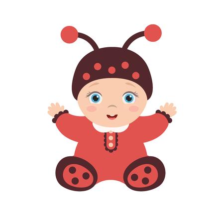 かわいい幸せな赤ちゃんのイラストはてんとう虫に扮した。子供は座っているし、楽しんでいます。