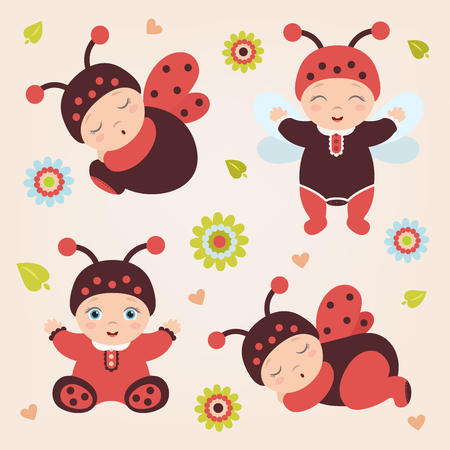 Set of sitting and standing cute happy babies in costume ladybug. Adorable ladybug babies. Flat design.Flat style.