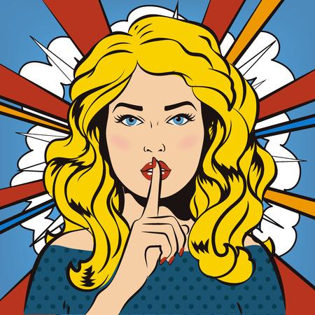 Woman says Shh! Retro, vintage. Woman says Shh! Retro, vintage. The girl asks for silence. It's a secret!