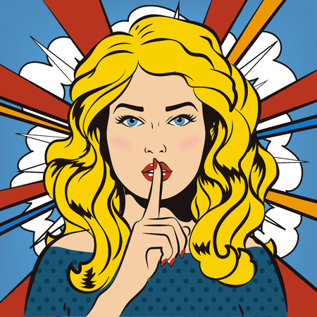 dont: Woman says Shh! Retro, vintage. Woman says Shh! Retro, vintage. The girl asks for silence. Its a secret! Illustration