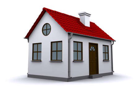 small roof: A small house with red roof on a white background Stock Photo