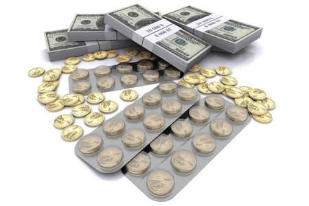economic revival: pack of tablets with the coins in dollars