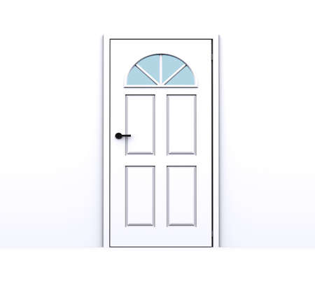 locked door: closed white door