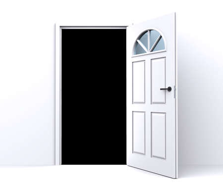 empty keyhole: open white door