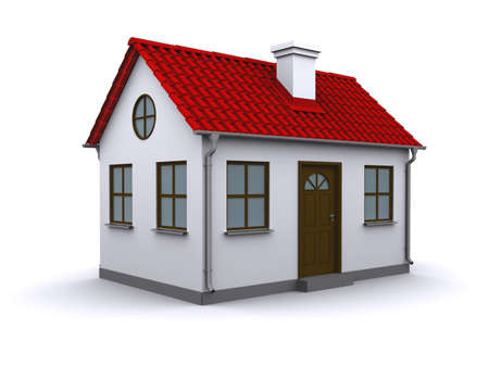 loans: A small house with red roof on a white background Stock Photo