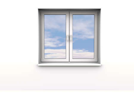 closed window, sky background Stock Photo - 8785487