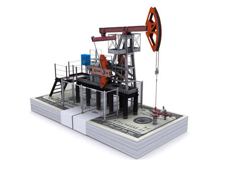 oilwell: Oil pump-jack stands on a pack of dollars