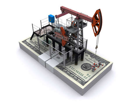oil money: Oil pump-jack stands on a pack of dollars