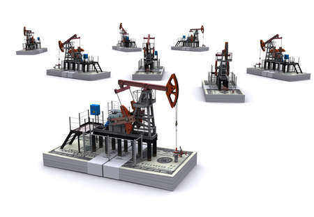 oilwell: Oil pump-jacks stands on a packs of dollars