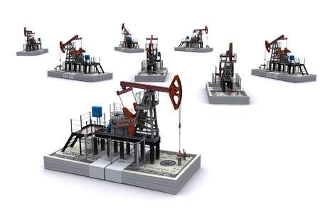 oilfield: Oil pump-jacks stands on a packs of dollars