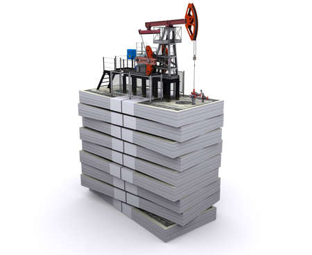 Oil pump-jack stands on a packs of dollars Stock Photo - 10299710