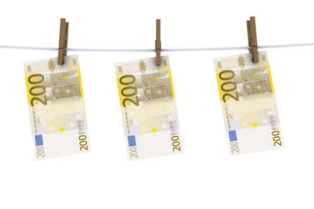laundering: euro on the line with clothes pins