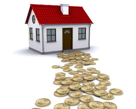 esterlino: pound sterling money - the way to the house Banco de Imagens