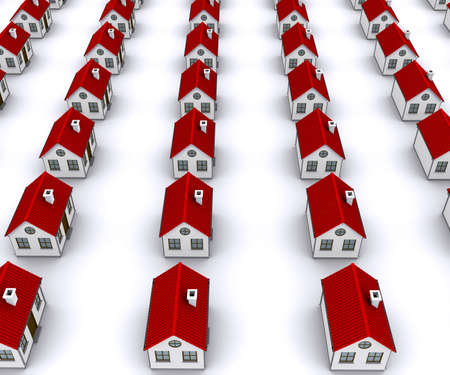 residency: Group of houses with red roof. Perspective view Stock Photo