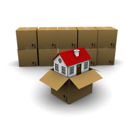 open huis: huis uit een kartonnen doos op de achtergrond van de groep dozen