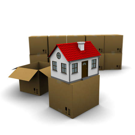 sound box: house from a cardboard box on the background of the group boxes Stock Photo
