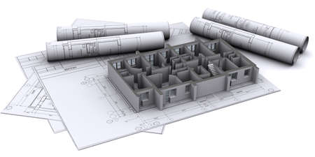 depth measurement: built walls of a house on construction drawings Stock Photo