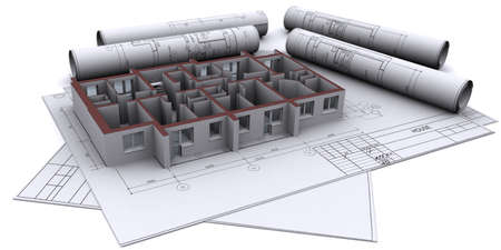 built walls of a house on construction drawings Stock Photo