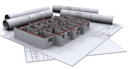 floor plan: built walls of a house on construction drawings Stock Photo