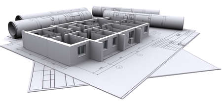 architectural architect: built walls of a house on construction drawings Stock Photo