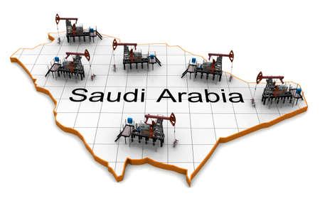 Oil pump-jacks on a map of Saudi Arabia photo