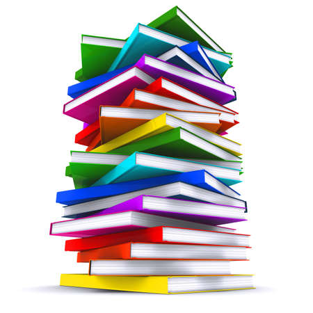 stack of books: A stack of colorful books. 3d rendering