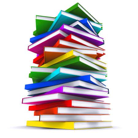 sachant lire et �crire: Une pile de livres color�s. Rendu 3D Banque d'images