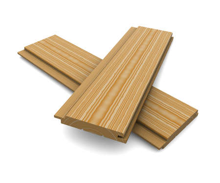 Two short wooden planks on a white background 版權商用圖片