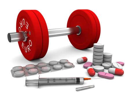 stark: Pillen und eine Spritze und Hantel als Symbol des Dopings im Sport