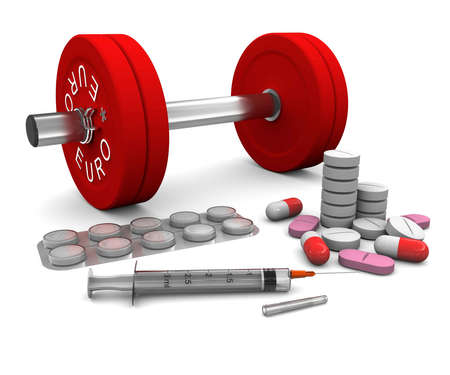syringes: Pills and a syringe and dumbbell as a symbol of doping in sport