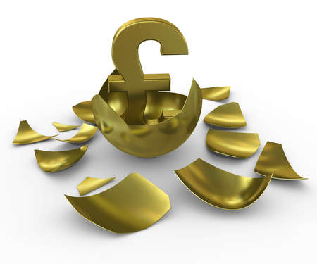 gbp: Gold GBP sign hatched from eggs of gold Stock Photo