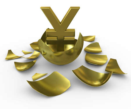 Gold yen sign hatched from eggs of gold Stock Photo - 10301391