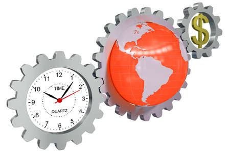 money time: Business arrangement of gears, clock, earth and a dollar sign Stock Photo