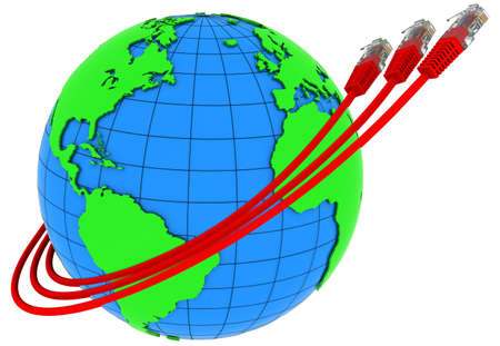 Three red internet cables wrap around the Earth photo
