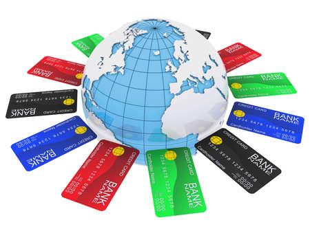 Bank Światowy: Wielokolorowe karty bankowe wokół Ziemi Zdjęcie Seryjne