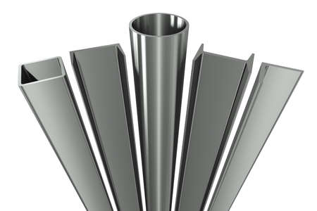 round rods: Metal pipe, girders, angles, channels and square tube on a white background