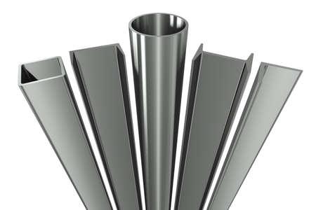 firmeza: Tubo met�lico, vigas, �ngulos, canales y tubos cuadrados sobre un fondo blanco