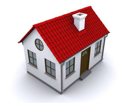 A small house with red roof on a white background photo