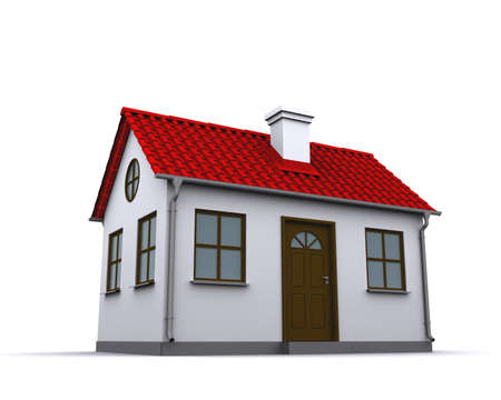 suburbs: A small house with red roof on a white background Stock Photo