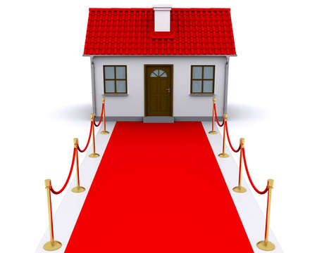 welcome home: small house with red roof and red carpet