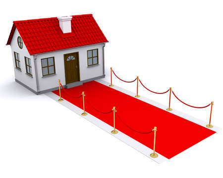 small house with red roof and red carpet photo