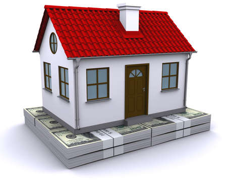 home prices: house with red roof on a bundle of dollars