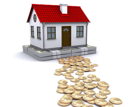 realty: money - a stable foundation for home Stock Photo