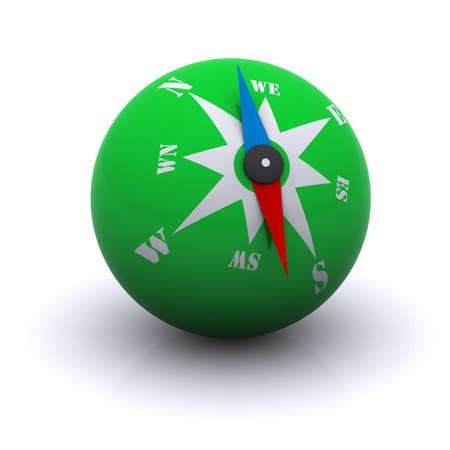 travel guide: stylized green compass ball