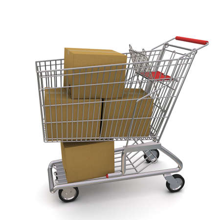 shopping carriage: shopping cart with boxes. 3d rendering on white background Stock Photo
