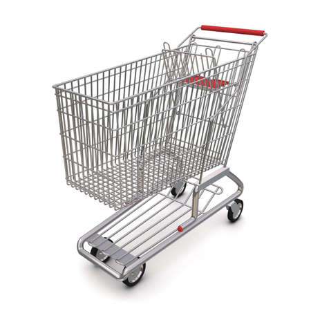 trolley from the supermarket. 3d rendering on white background Stock Photo - 10337839