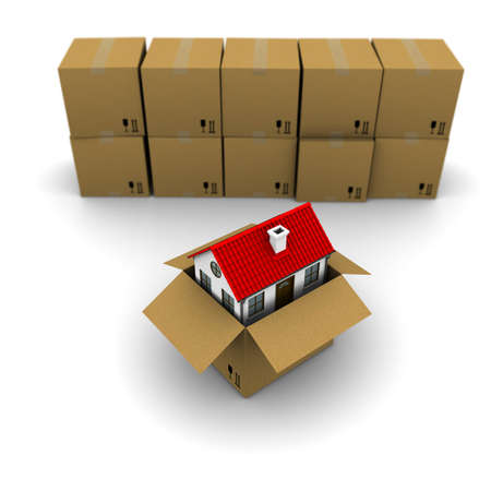paper container: house from a cardboard box on the background of the group boxes Stock Photo