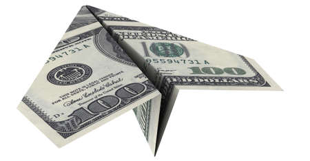 paper airplane from the dollars on a white background photo