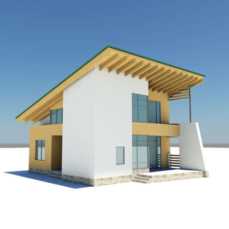 3D rendering: house with a green roof is on a white ground against the blue sky
