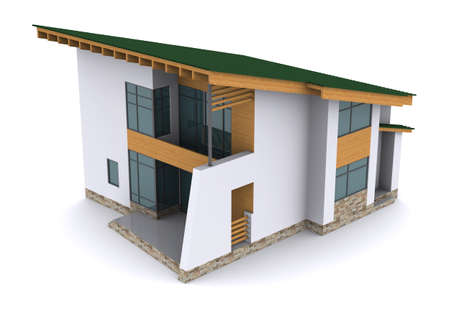 architectural exterior: house with green roof. 3d rendering on white background